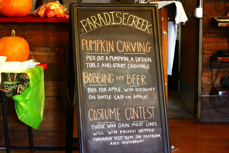 The Paradise Creek Brewery throws a Halloween party, offering pumpkin carving, bobbing for apples and a costume contest at the Trailside Taproom on Saturday afternoon.