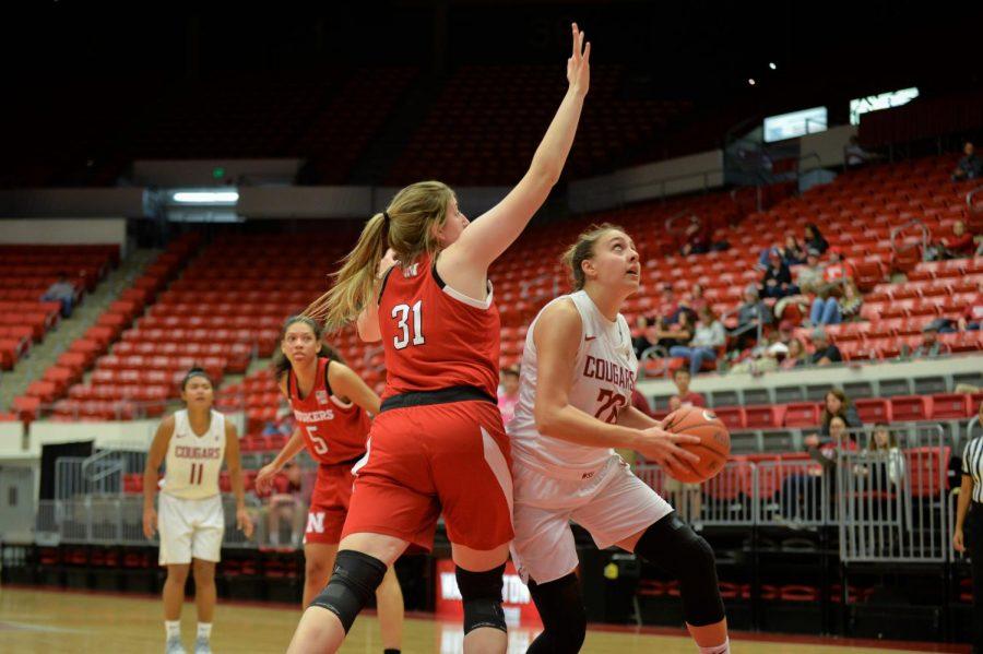 Senior+center+Maria+Kostourkova+looks+for+an+opportunity+to+score+a+basket+against+the+Nebraska+Cornhuskers+on+Nov.+16+in+Beasley+Coliseum.