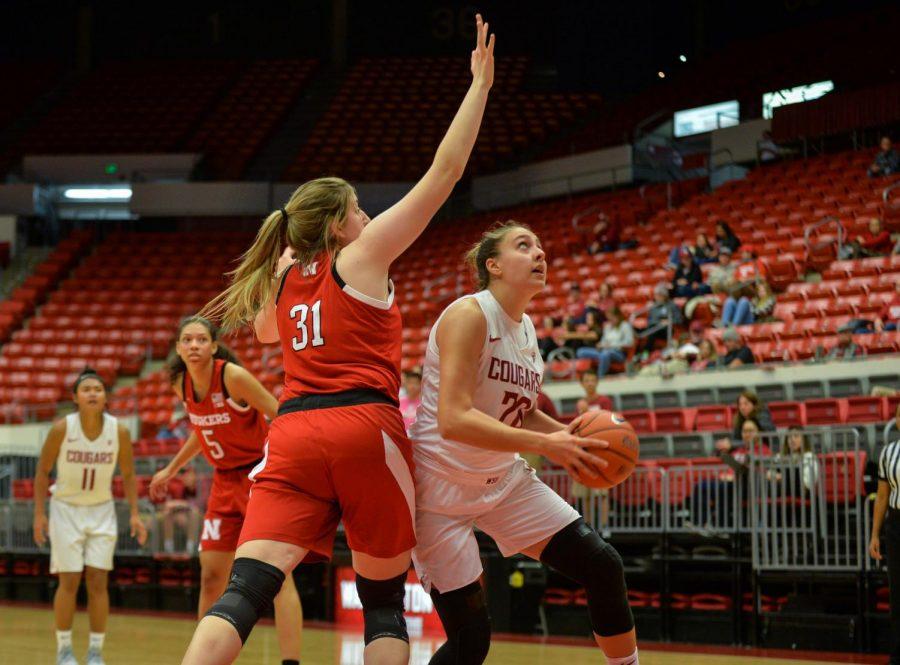 Senior center Maria Kostourkova looks for an opportunity to score a basket in the game against the Nebraska Cornhuskers on Nov. 16 in Beasley Coliseum.