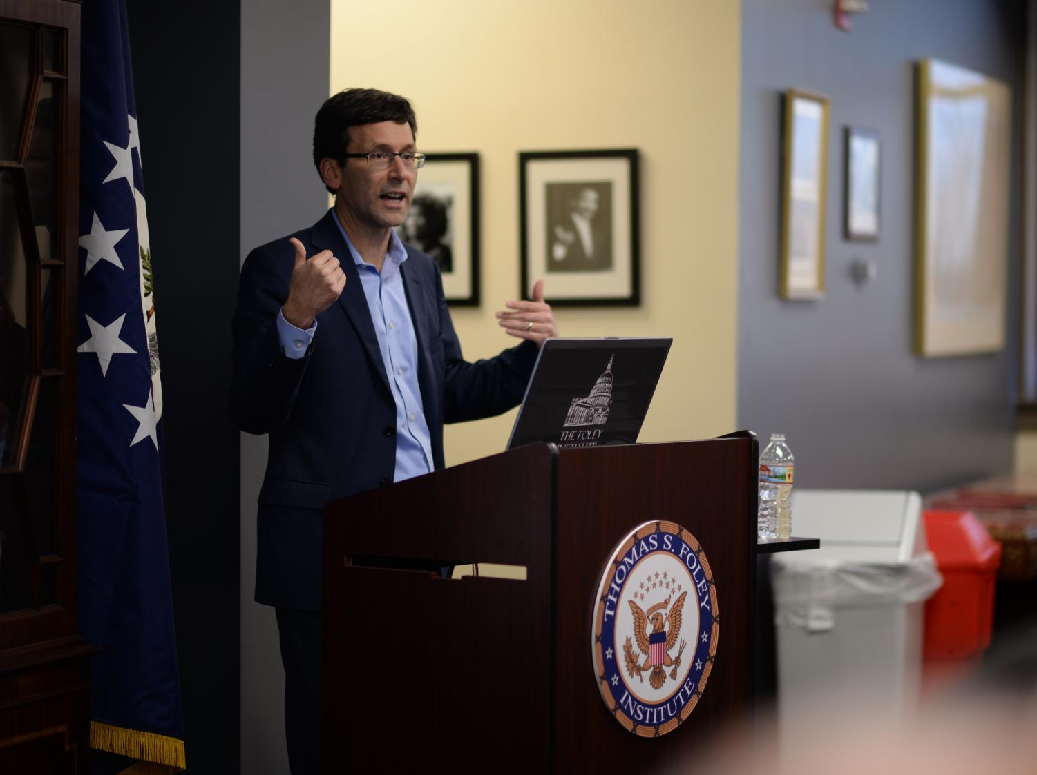 Washington Attorney General Bob Ferguson details the multiple lawsuits he has been part of against the Trump administration Thursday during a Thomas S. Foley talk in Bryan Hall.