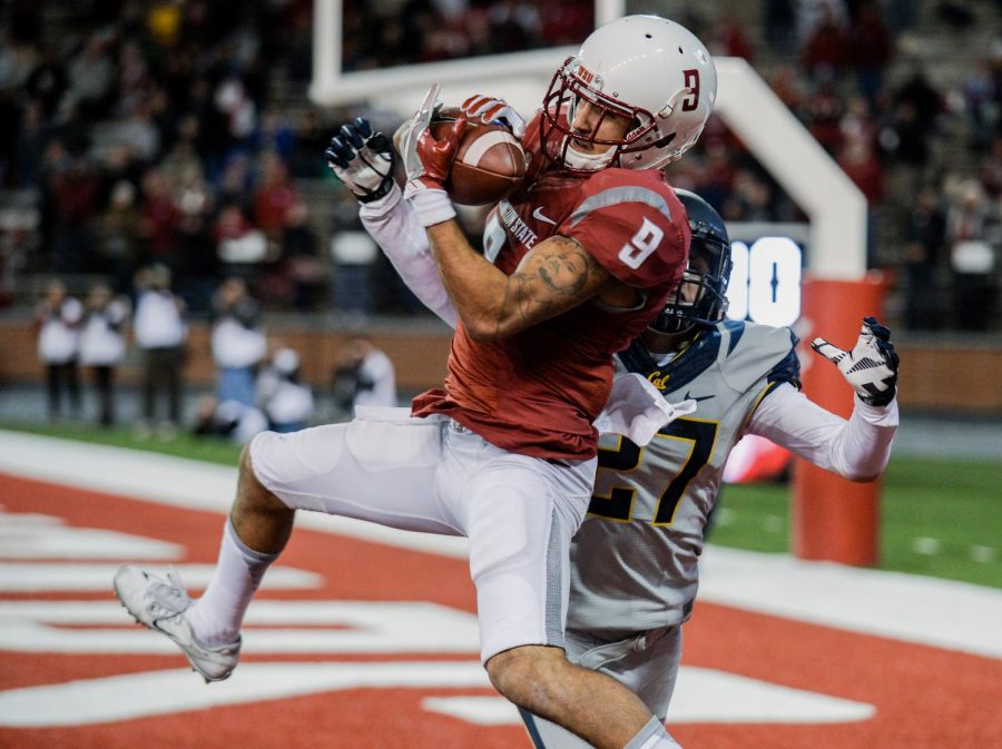Former WSU wide receiver Gabe Marks catches a touchdown pass during the game against Cal on Nov. 11, 2016, at Martin Stadium.