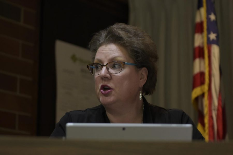 Councilmember Ann Parks asks about future efforts for coordination with ASWSU regarding mental health during the Pullman City Council meeting Tuesday night in Pullman City Hall.