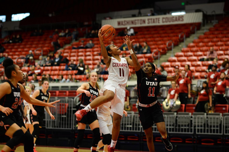 Junior guard Chanelle Molina cuts through the Utah defense Friday night at Beasley Coliseum.