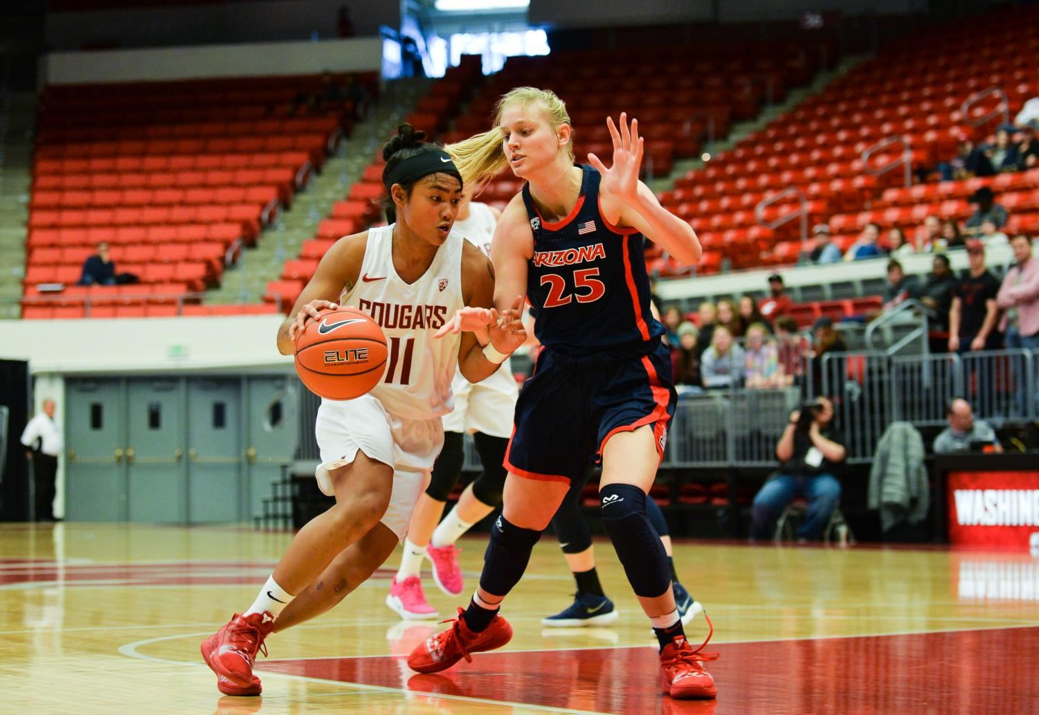 Junior guard Chanelle Molina dribbles past Arizona freshman forward Cate Reese on Feb. 9 at Beasley Coliseum. The game resulted in a 90-88 win for the Cougars.