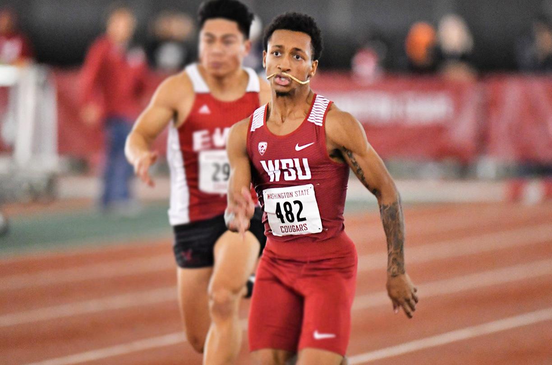 Junior Emmanuel Wells Jr. competes in the 60-meter dash at the WSU Indoor on Jan. 19 in the Indoor Practice Facility.