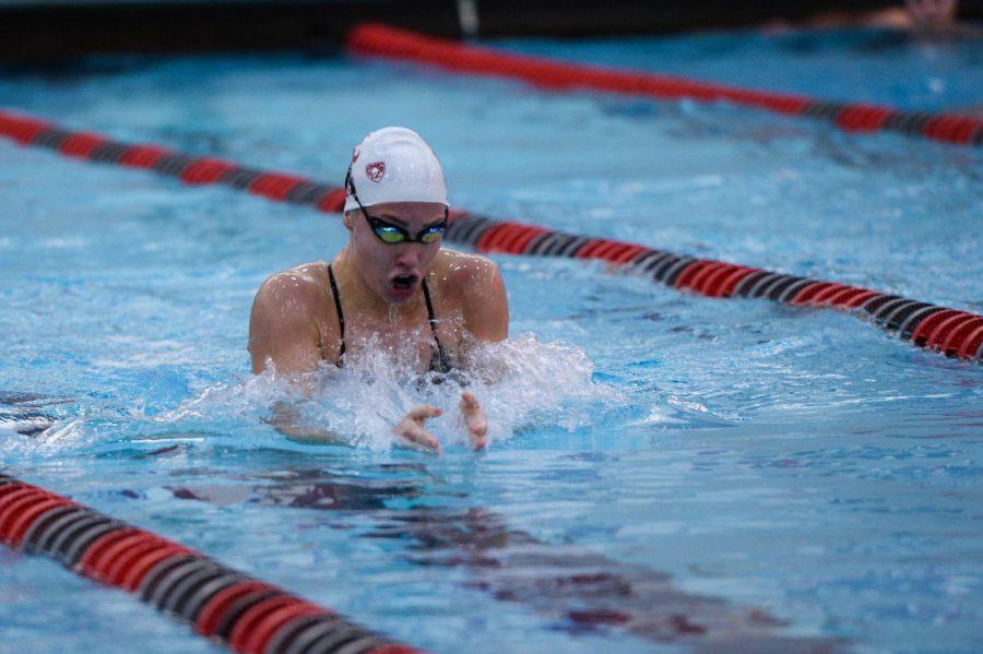 Senior breaststroke swimmer Linnea Lindberg races in the women's 200-yard breaststroke against the University of Wyoming on Friday at Gibb Pool. WSU hosts Utah in their final home meet Saturday.