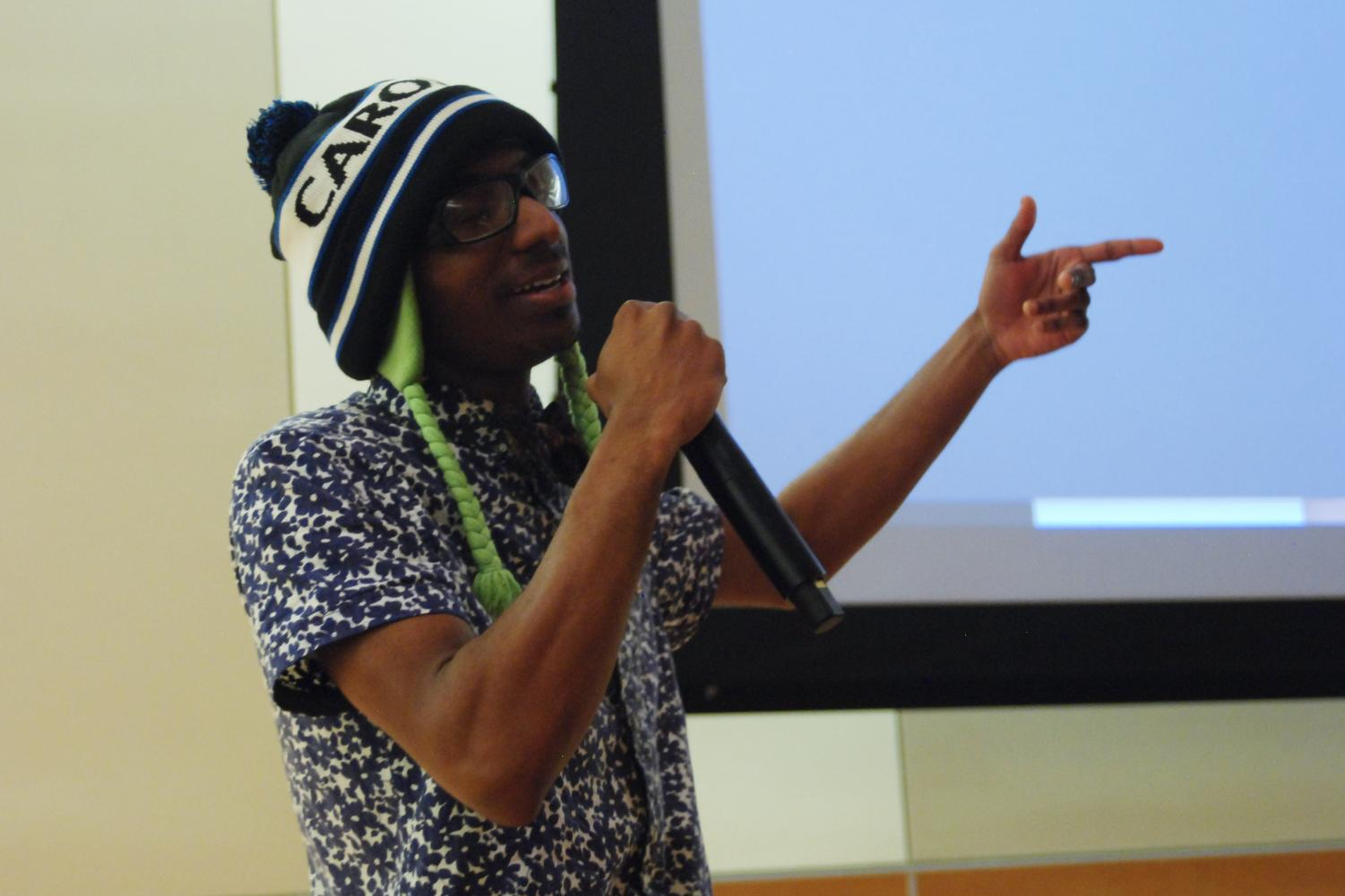 Hip hop artist Jamie of James Hope raps an emotional piece on authenticity, identity and mental health in hip-hop culture Thursday evening in the CUB Senior Ballroom.