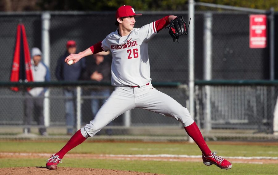 WSU+freshman+right-handed+pitcher+Brandon+White+winds+up+to+toss+a+pitch+against+Saint+Mary%E2%80%99s+on+Feb.+18+at+Louis+Guisto+Field.+White+led+his+team+to+its+first+victory+by+keeping+Santa+Clara+scoreless.