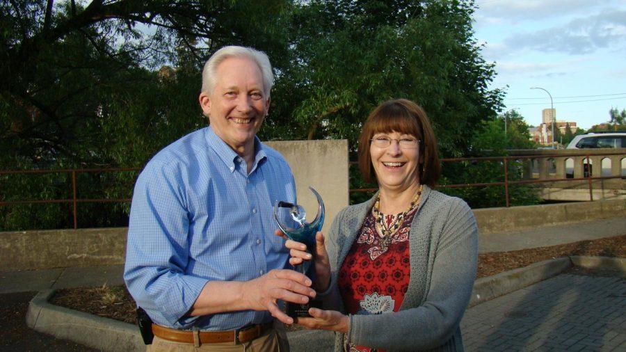 In+2018+Mayor+Glenn+Johnson+offered+Gail+Siegel%2C+director+of+WSU%E2%80%99s+performing+arts+program%2C+the+Mayor%E2%80%99s+Art+Award%2C+a+glass+statue+trophy.