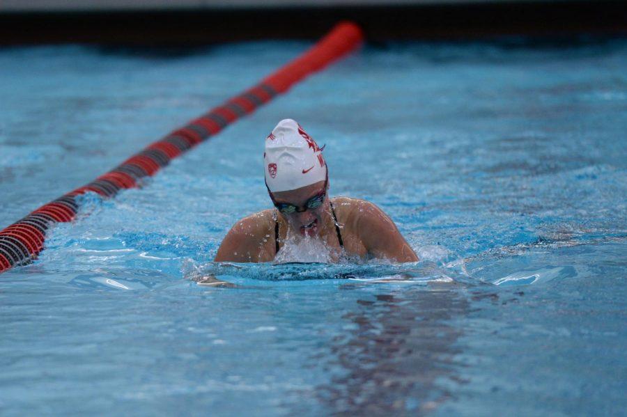 Sophomore+Mackenzie+Duarte+races+in+the+200-yard+breaststroke+against+University+of+Wyoming+on+Nov.+9+at+Gibb+Pool.