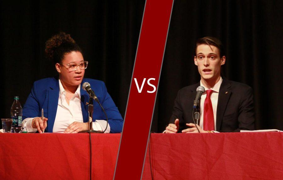 Presidential candidates Mariela Frias-Gomez, left, and Quinton Berkompas, right, address issues regarding WSU students and ASWSU.