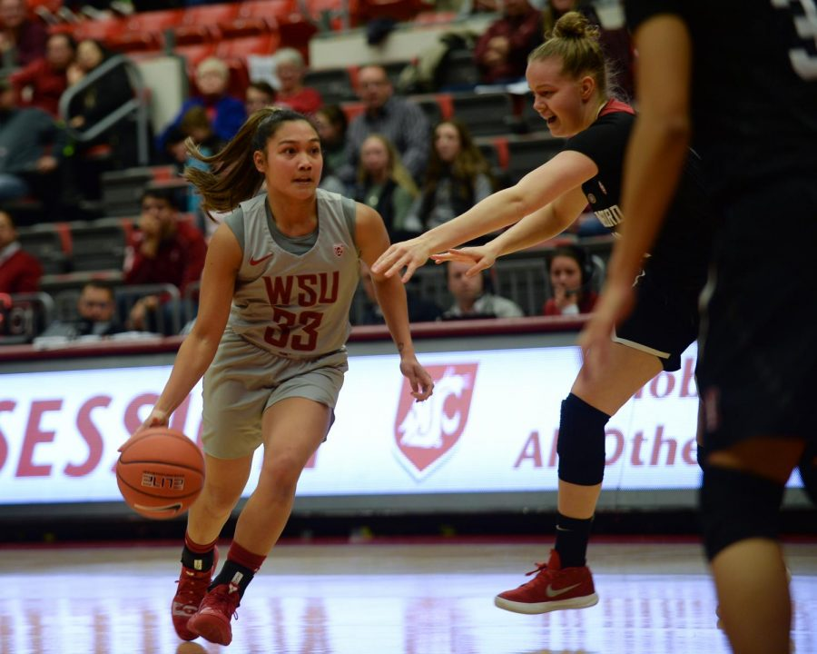WSU freshman guard Cherilyn Molina dribbles the ball down the court in game against Stanford on March 1 at Beasley Coliseum.