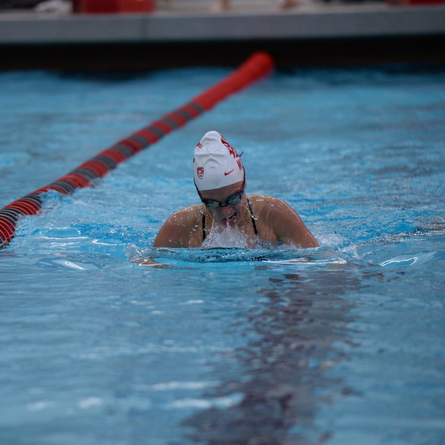Sophomore breaststroke and IM swimmer Mackenzie Duarte races in the women's 200-yard breaststroke against the University of Wyoming on Nov. 9 at Gibb Pool.