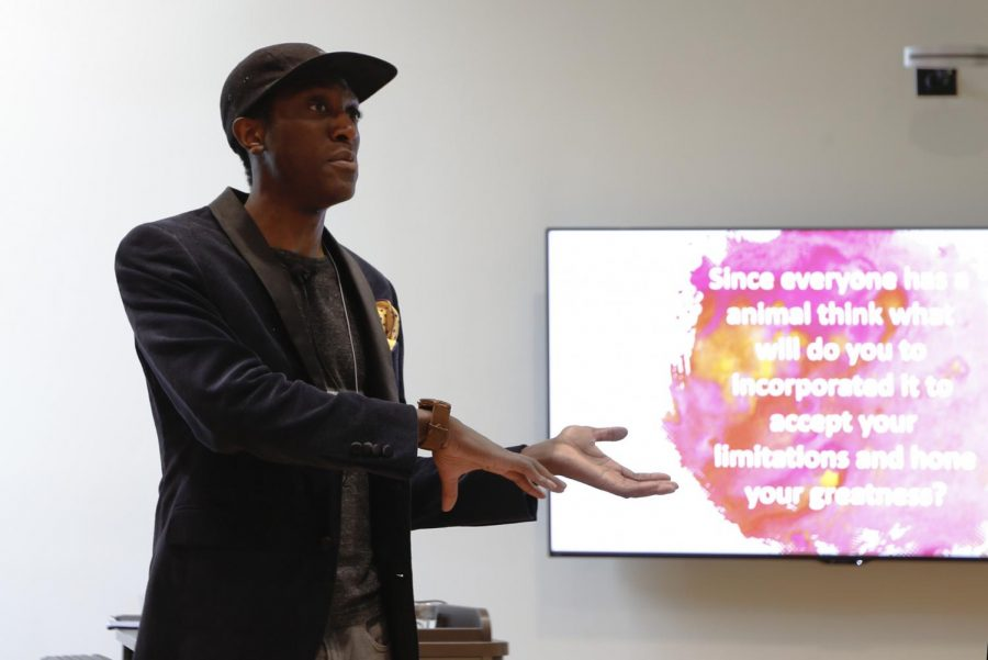 Nigel Joseph, an Apparel Merchandising, Designs and Textiles graduate student, leads a workshop about creating life goals and overcoming obstacles at the Disability Awareness Symposium on March 28, 2018.
