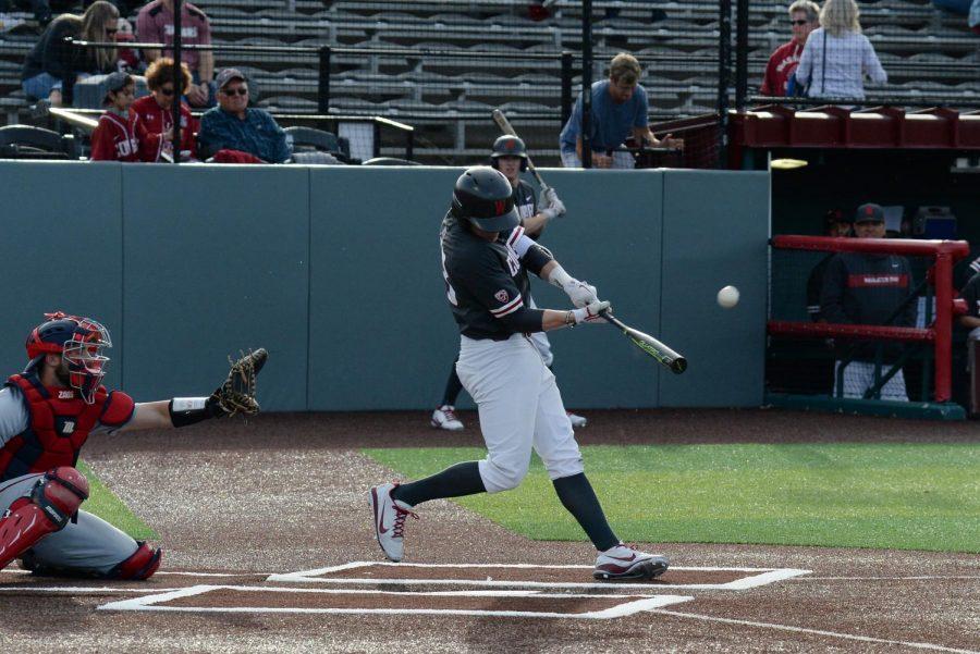 Freshman infielder Kodie Kolden hits a three-run home run in the second inning against Gonzaga on Tuesday at Bailey-Brayton Field.