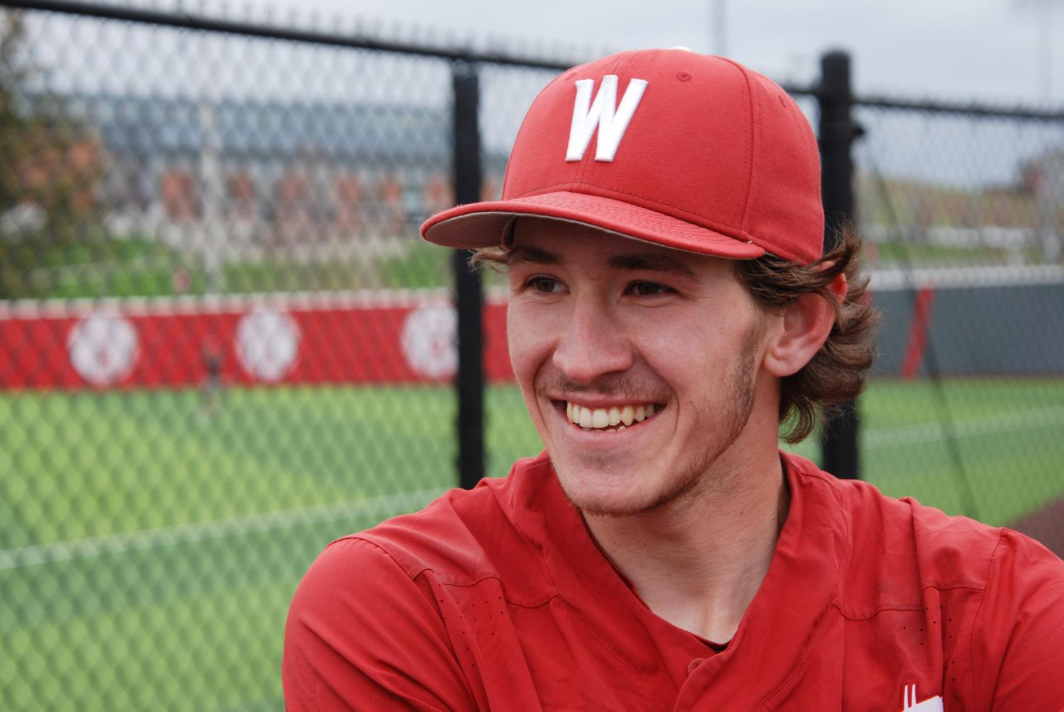 Junior infielder Dillon Plew discusses his mother's positive impact on his time playing baseball on Wednesday at Bailey-Brayton Field.