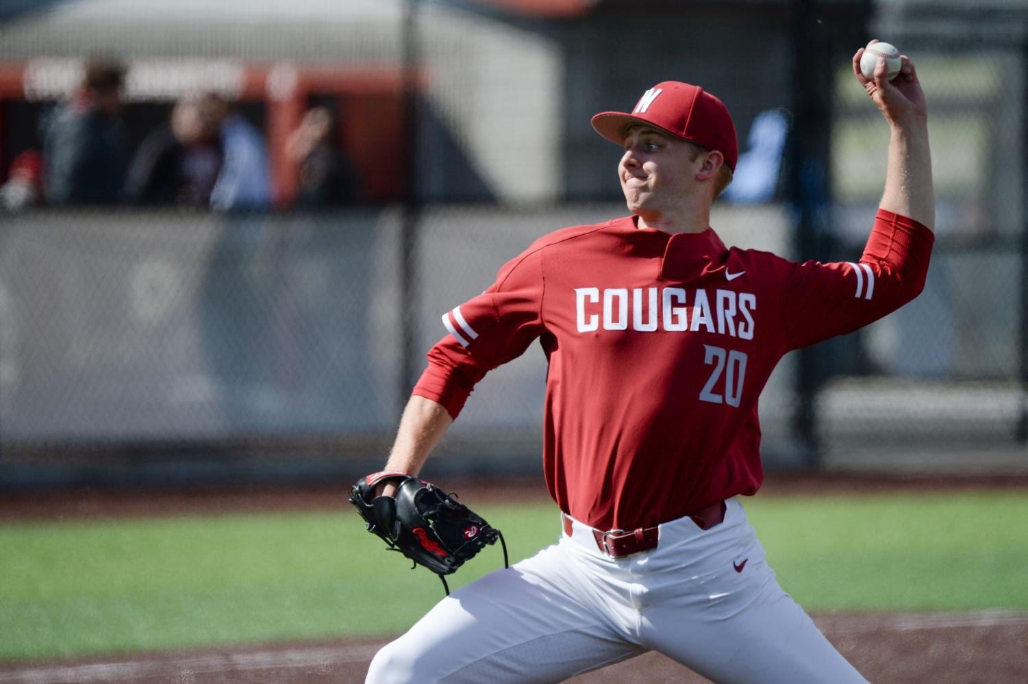 Junior left-handed pitcher AJ Block throws a pitch during the game against No. 2 Stanford on Saturday  afternoon at Bailey-Brayton Field. The Cougars lost the game 8-5.