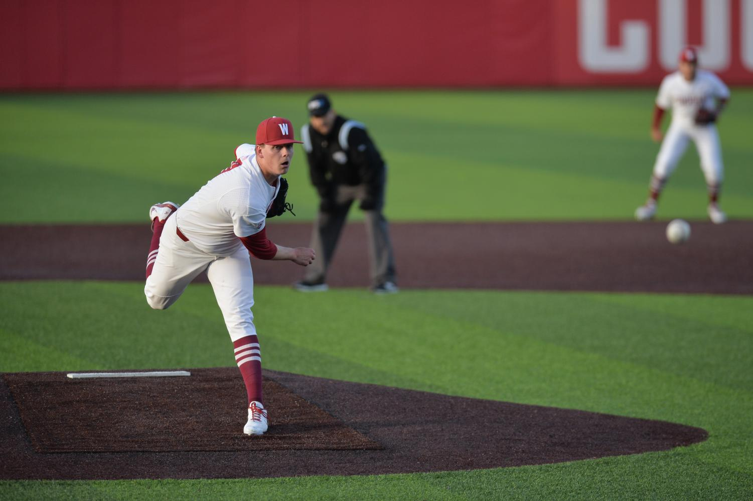 Freshman right-handed pitcher Zane Mills pitches in the fifth inning of the game against Stanford on March 29 at Bailey-Brayton Field.