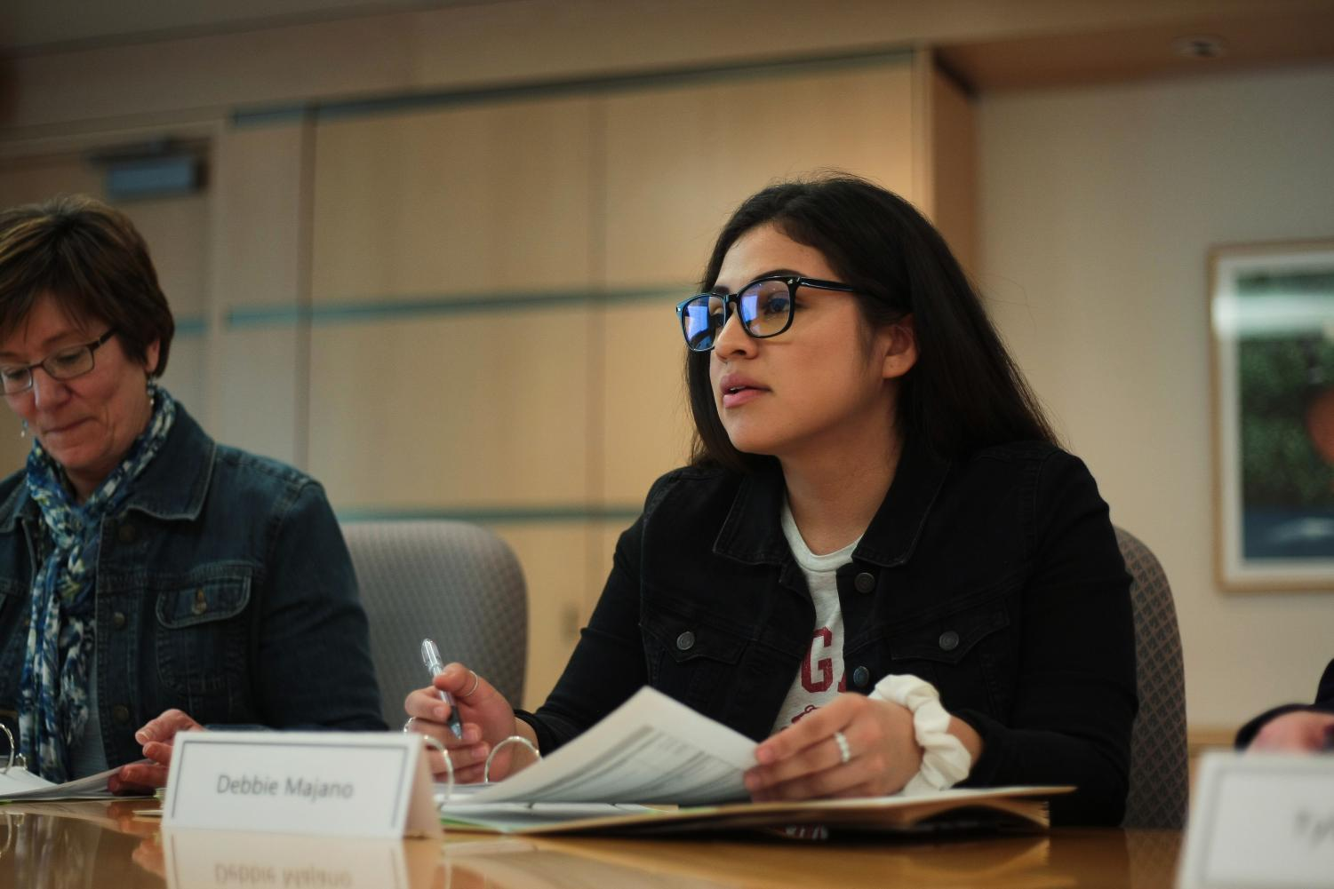 WSU S&A fee committee member Debbie Majano reviews the 2019-2020 WSU service and activities budget at an S&A meeting Monday in Lighty. The committee meets with groups later in the week.