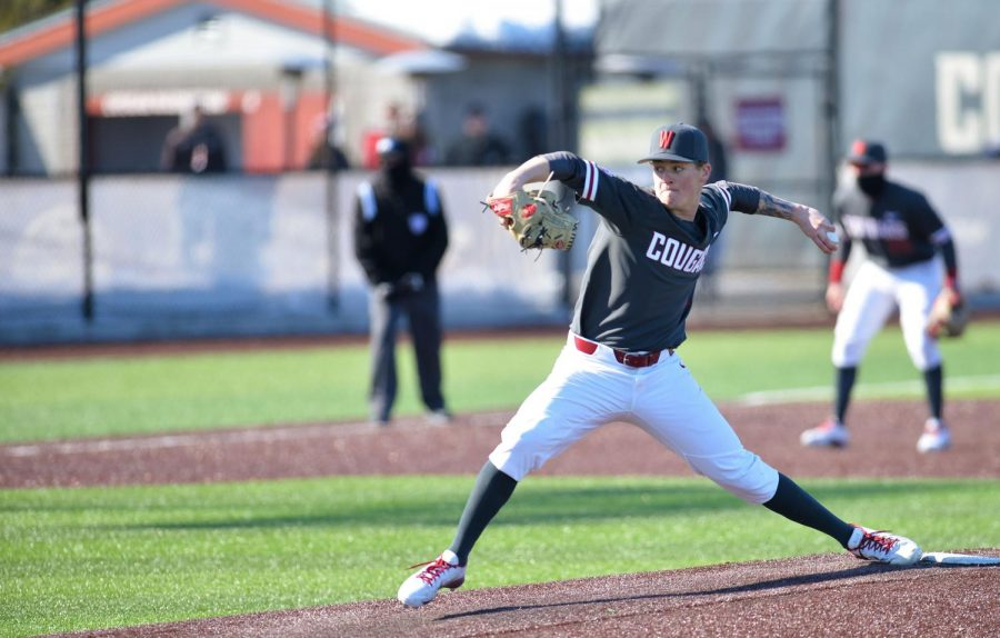 Sophomore left-handed pitcher Bryce Moyle pitches during game 3 of the series against California State University, Northridge Sunday March 10th at Bailey-Brayton Field.