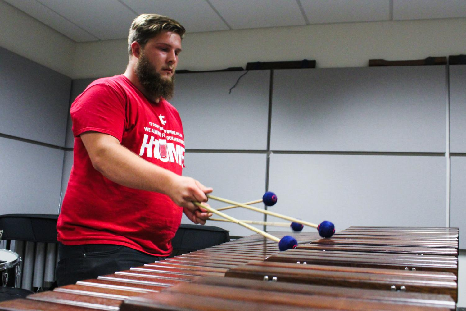 Music student Nick Theriault will perform a classical repertoire on several percussion instruments for a panel of judges Friday.