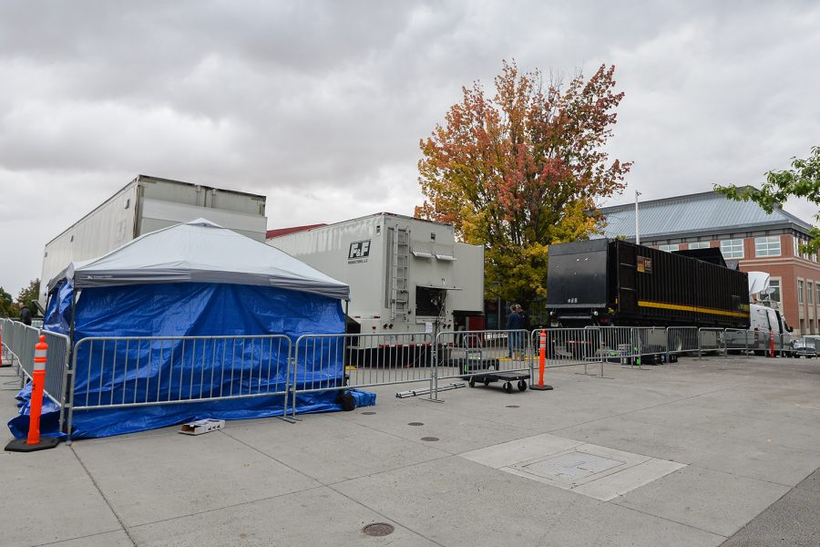 ESPN vehicles and equipment are surrounded by metal barricades and situated on accessibility parking spaces Sept. 20 at the Glenn Terrell Friendship Mall.