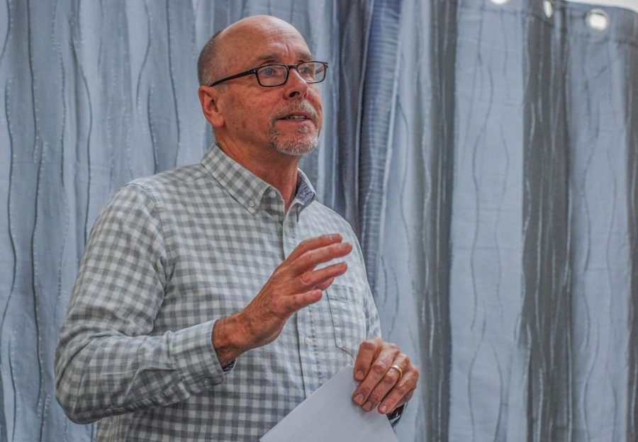 Jeff Guyett, Executive Director of the Community Action Center, urges the community to take action to provide nutritional needs and housing assistance  to those in need in the Whitman County area on Tuesday afternoon in the Edith Hecht meeting room at the Neill Public Library.