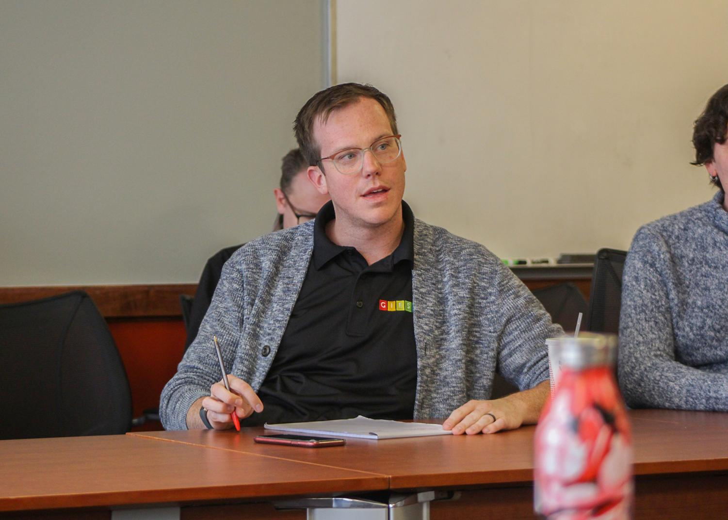 Matthew Jeffries, director of the gender identity/expression and sexual identity resource center at WSU, speaking at the first inaugural LGBTQ+ faculty/staff association meeting on Oct. 18 in the CUB.