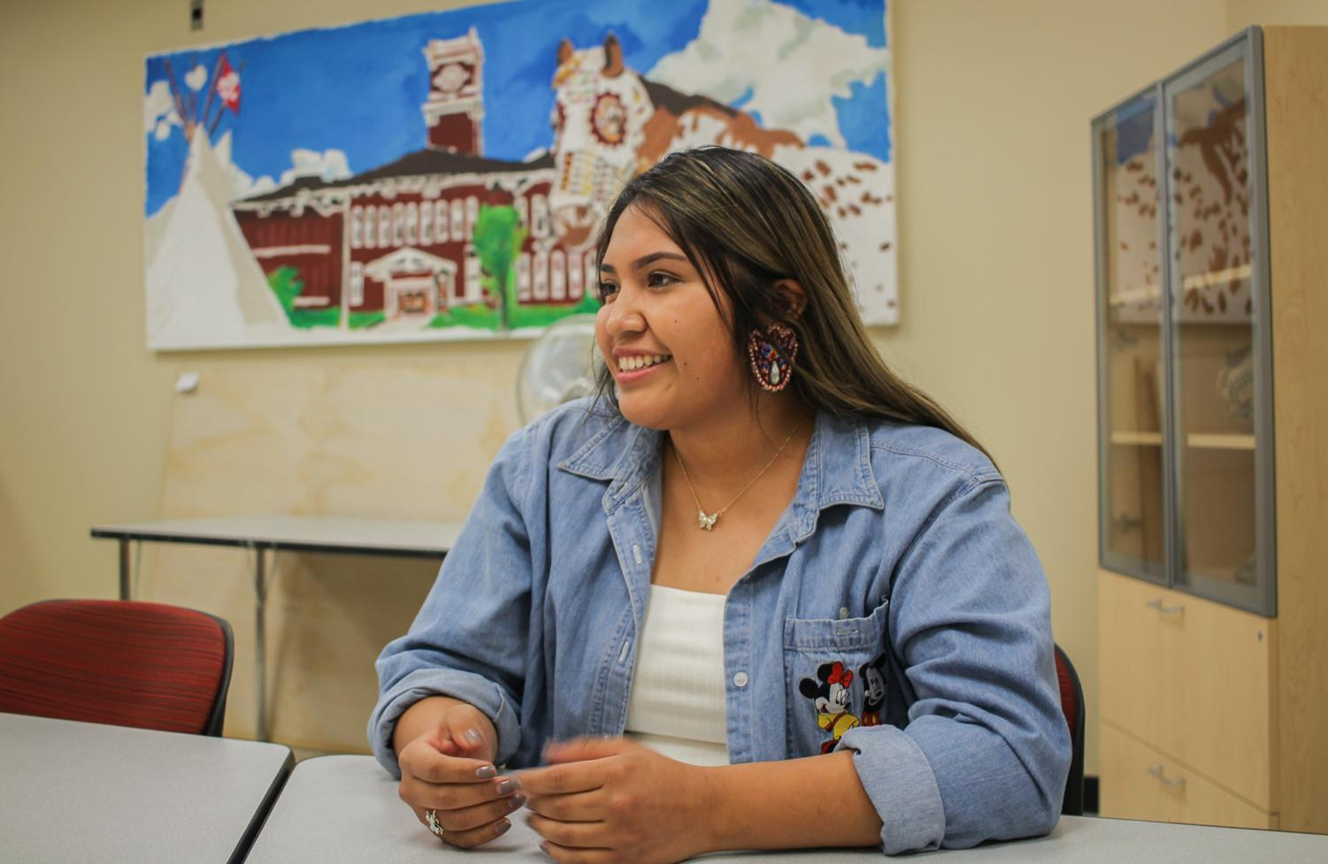 Kyra Antone, senior digital technology and culture major and member of the Cour D'Alene Tohono O'odham tribe, speaks growing native representation on campus Friday at Cleveland Hall.