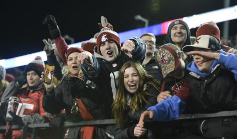 Fans celebrate after WSU scored the game-winning touchdown against Oregon State Nov. 23, 2019, at Martin Stadium.