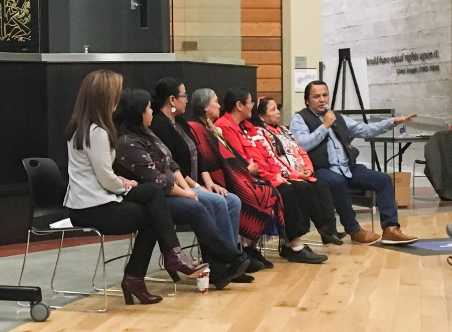 A+panel+of+Native+American+community+members+talks+about+the+importance+of+allowing+indigenous+community+members+to+choose+what+items+to+curate+and+share+on+Thursday+in+the+Elson+S.+Floyd+Cultural+Center.