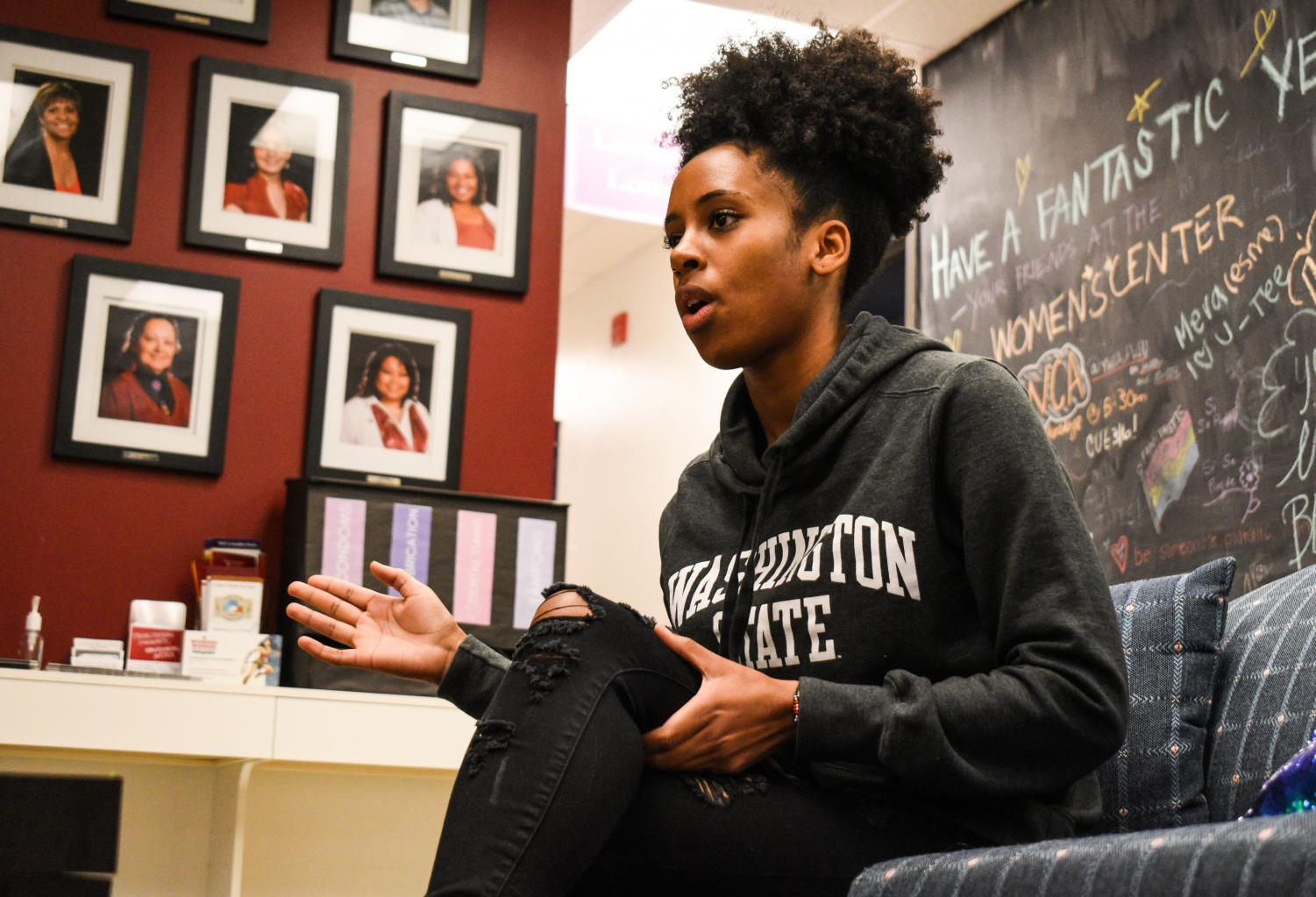 Jazmyne Jackson, current president of the Black Women's Caucus, highlights her experiences with getting involved on campus on Oct. 28 at the Women's Resource Center in Wilson-Short Hall.