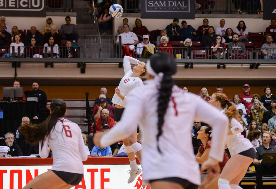 Freshman+outside+hitter+Alexcis+Lusby+hits+the+ball+during+a+game+against+Arizona+State+University+on+Oct.+18+at+Bohler+Gym.+The+Cougars+won+3-0.