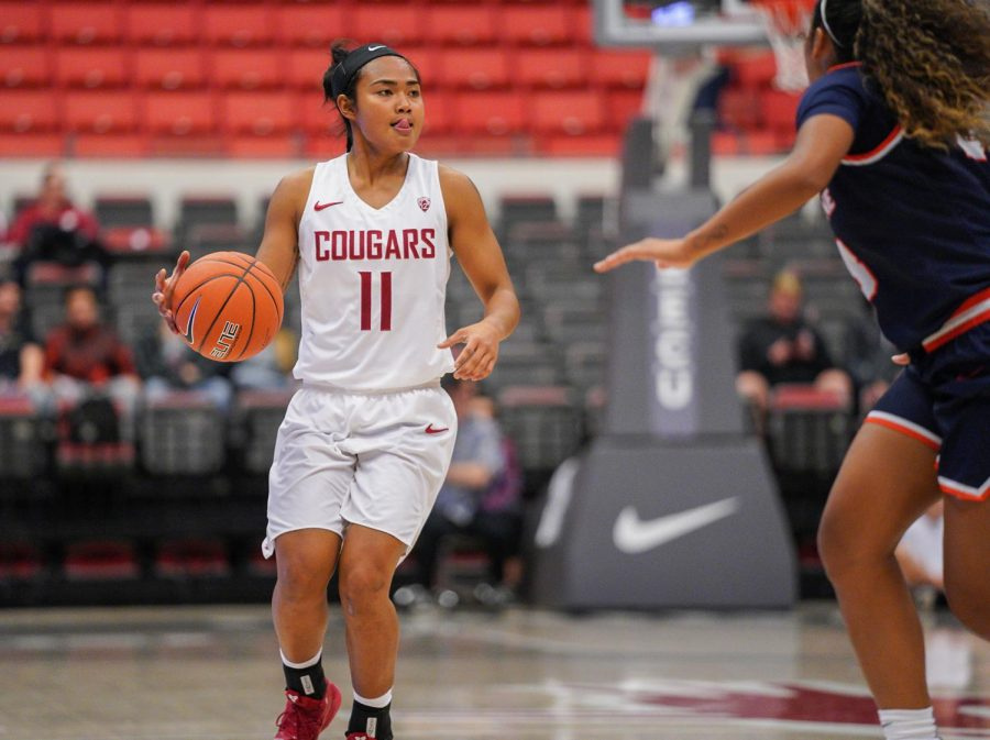 Senior+guard+Chanelle+Molina+anticipates+her+next+move+against+Pepperdine+on+Tuesday+night+at+Beasley+Coliseum.