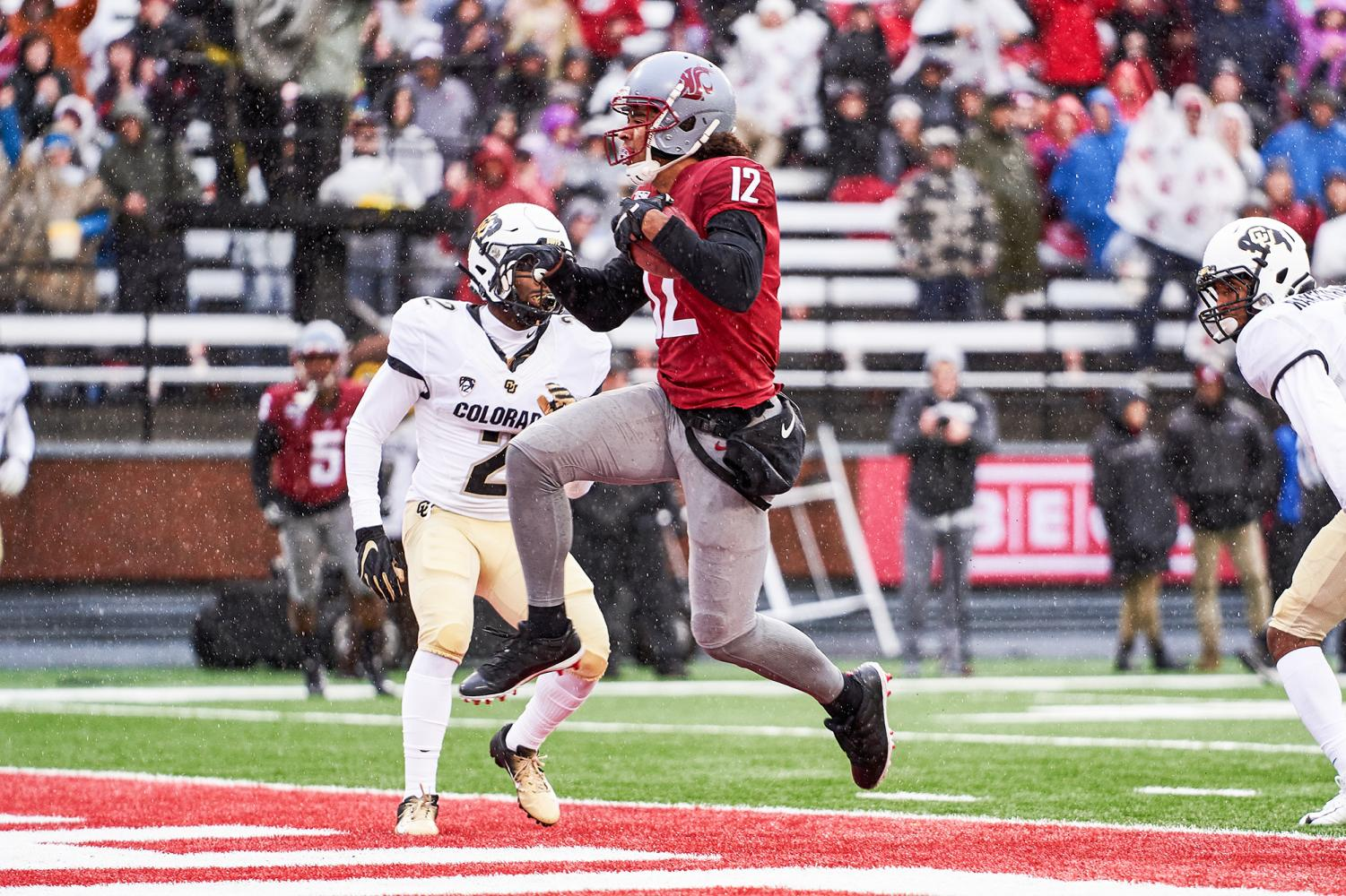 Senior wide receiver Dezmon Patmon runs into the end zone against Colorado on Oct.19 at Martin Stadium.
