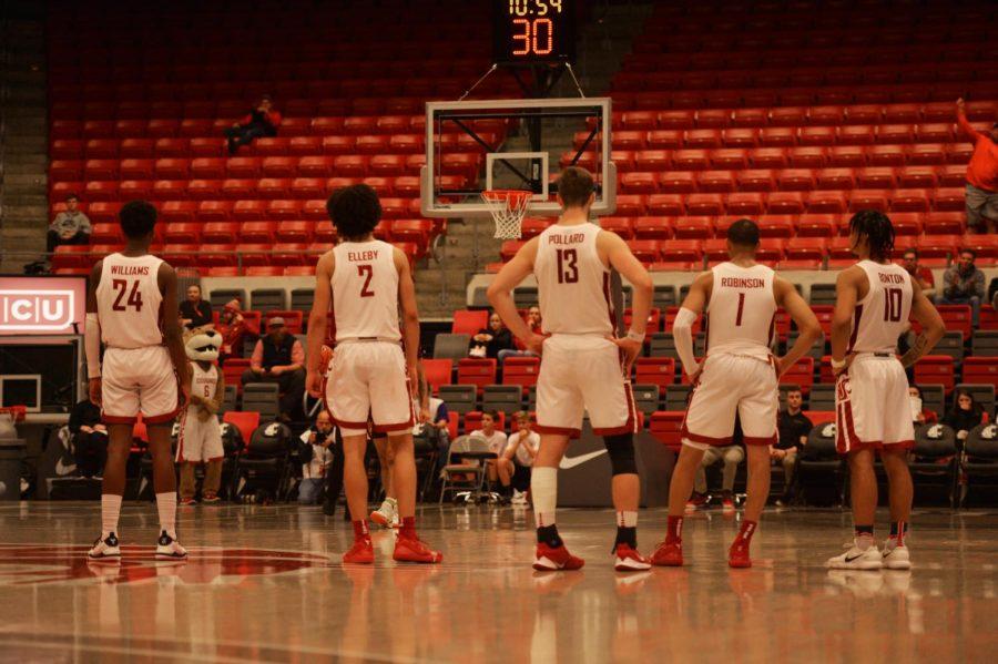 Freshman Guard Noah Williams , Sophomore Forward CJ Elleby, Senior Forward Jeff Pollard, Senior Guard Jervae Robinson, and Junior Guard Isaac Bonton all gather together before a shooting foul on Wednesday at Beasley Coliseum.