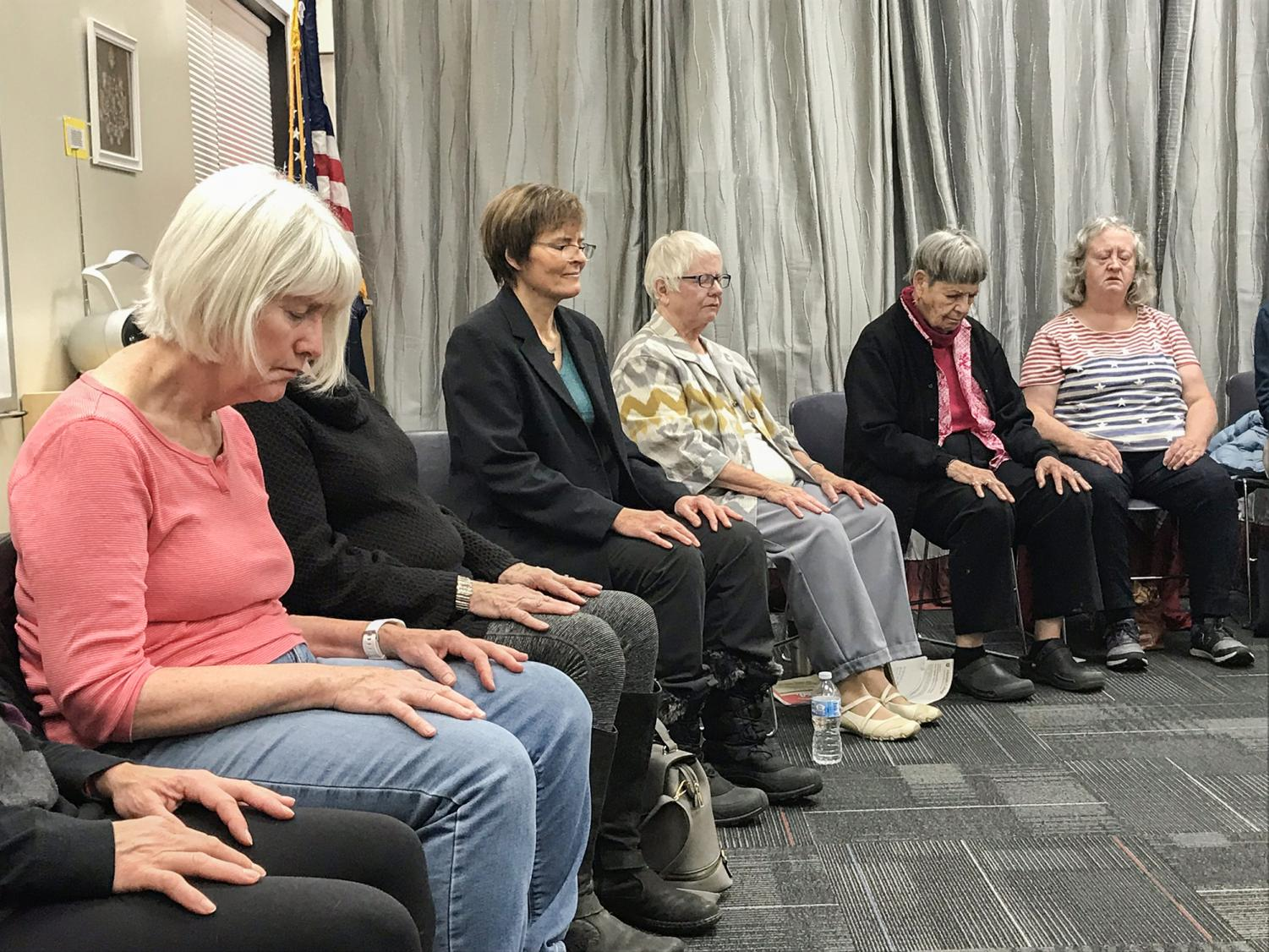 The League of Women Voters of Pullman met for a presentation on mindfulness Tuesday at the Neill Public Library. Lydia Gerber, a clinical associate professor in the WSU Honors College, led a six-minute meditation for attendees.