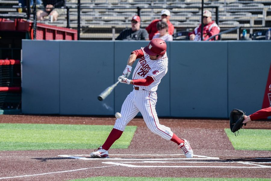 Then-sophomore+outfielder+Collin+Montez+fouls+the+ball+in+game+three+of+the+series+against+Stanford+on+March+31+2019+at+Bailey-Brayton+Field.%0A