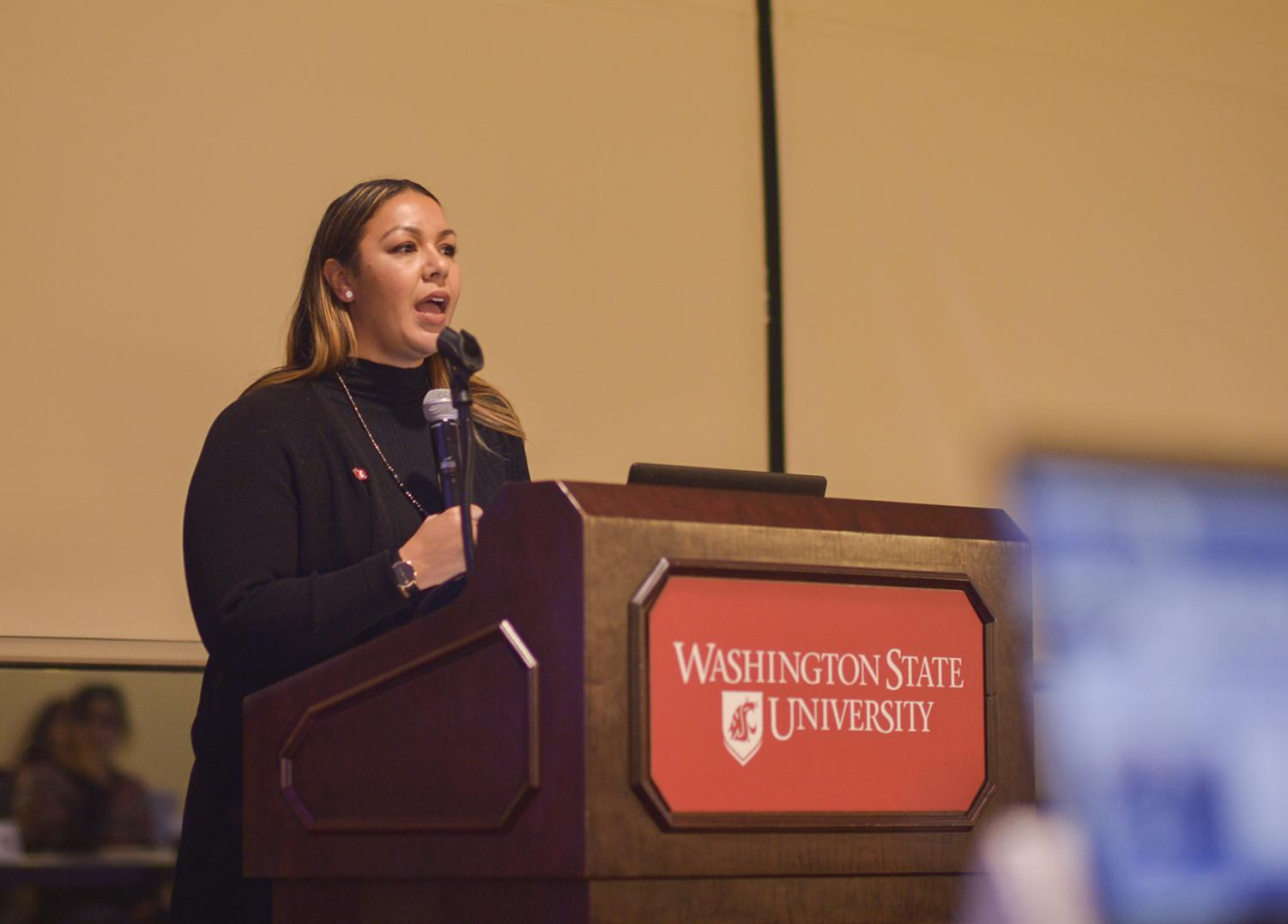 GPSA vice president Veneice Guillory-Lacy leads the meeting on Monday evening in the CUB Jr. Ballroom.