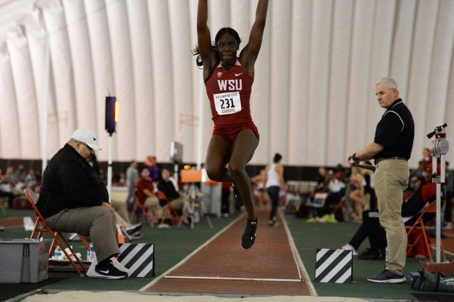 Then-freshman Charisma Taylor competes in the long jump during the WSU Indoor Meet at the Indoor Practice Facility, Jan. 19th, 2019.  Taylor placed second in the meet with a jump of 5.77 meters.