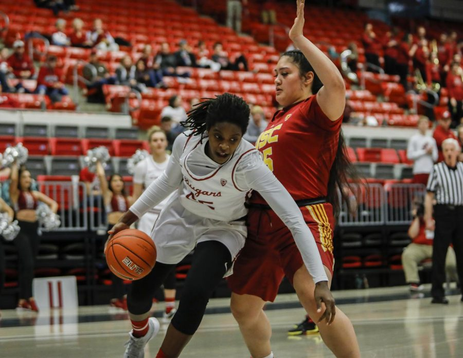 Then-freshman center Bella Murekatete attempts to beat USC defense on Feb. 23, 2020 at Beasley Coliseum.