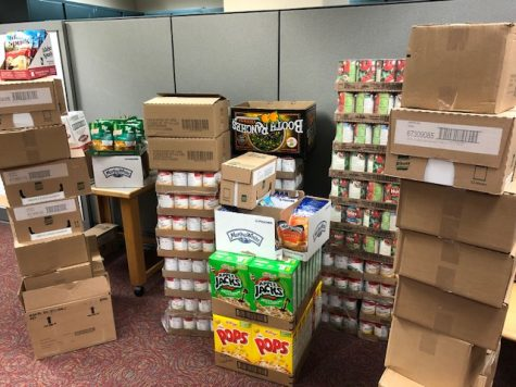 Food donations to the WSU Office for Access and Opportunity food pantry wait to be packaged for students.