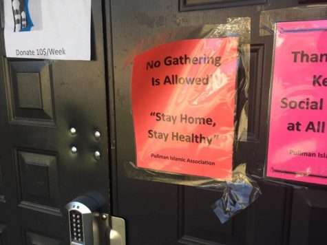 A sign outside the Pullman Islamic Center after COVID-19 pushed Gov. Jay Inslee to order residents to stay home.