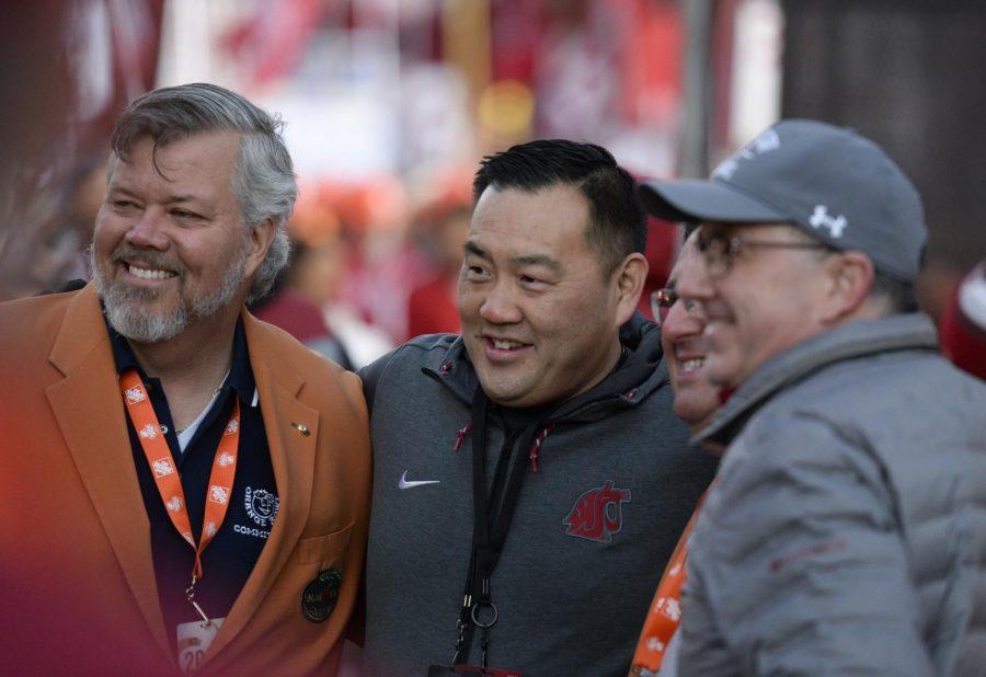 WSU+Athletics+Director+Pat+Chun%2C+left+center%2C+said+the+department%27s+revenue+will+drop+about+%246+million.+WSU+President+Kirk+Schulz%2C+far+right%2C+said+he+believes+football+will+continue+fall+semester.+