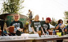 Volunteers serve lentil chili for attendees the 2018 National Lentil Festival.