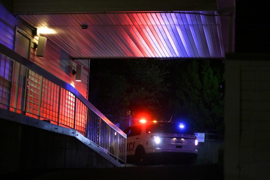 WSU Police cars pull in to the Delta Delta Delta sorority house on Halloween night.
