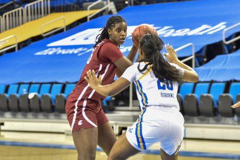 Sophomore center Bella Murekatete squares up to a UCLA defender on Jan. 17.