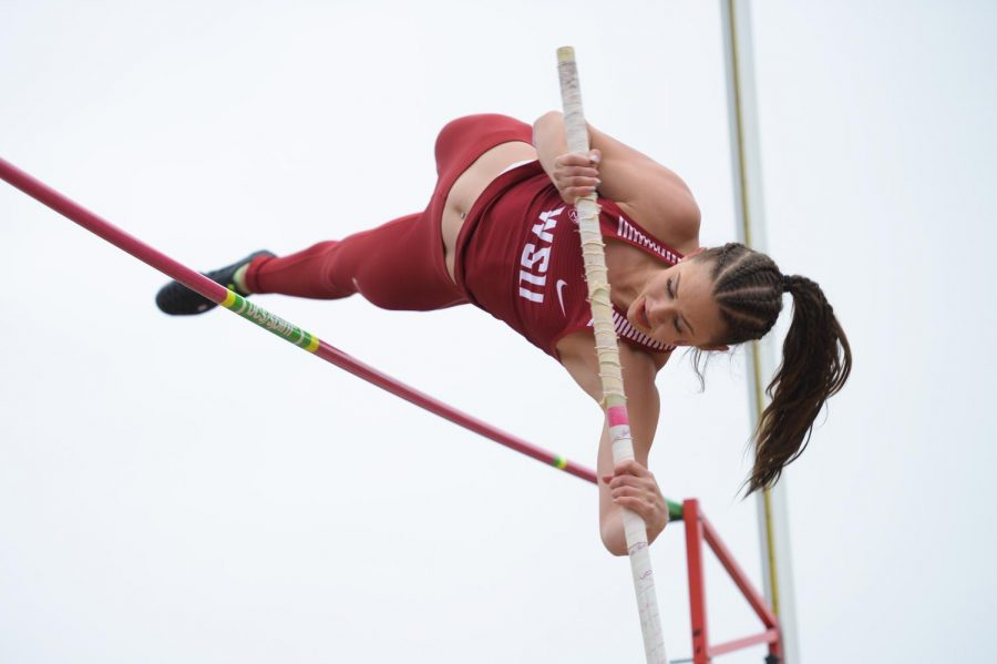 The track and field men's team placed sixth in the pole vault with a 5.06 meter vault.