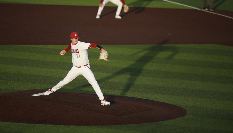 Junior pitcher Zane Mills pitches against Seattle U Friday evening at Bailey-Brayton Field. The Cougars walk away with a 2-1 series win over the Redhawks.
