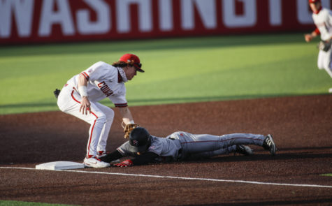 Junior infielder Jack Smith tags Seattle U runner last Friday at Bailey-Brayton.